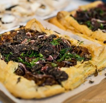 Caramelised onion and Prosciutto tart