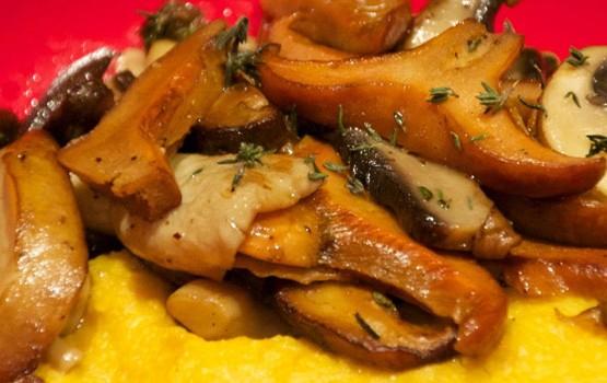 Medley of Mushrooms on Pumpkin Polenta