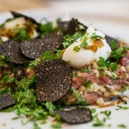 Smoked Ham Hock, soft egg, fregola & truffle