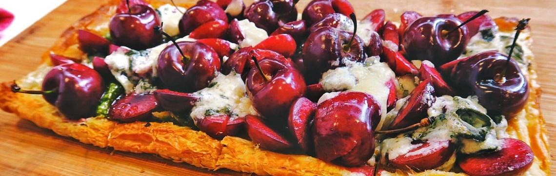 Cherry and Blue Cheese Tart