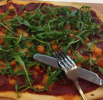 Chorizo, Pumpkin, Rocket and Chili Pizza