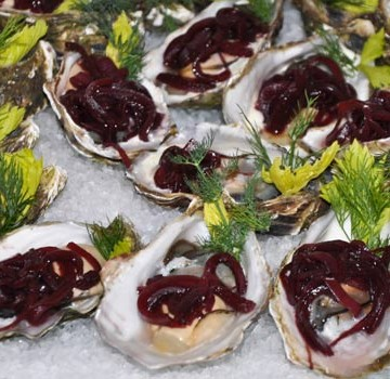 Oysters with pickled honey