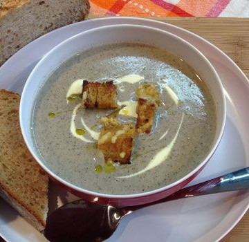 Cream of Mushroom Soup with Mustard and Gruyere Croutons