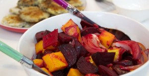 Mushroom Schnitzel with Roasted Pumpkin, Beetroot & Baby Spinach Salad