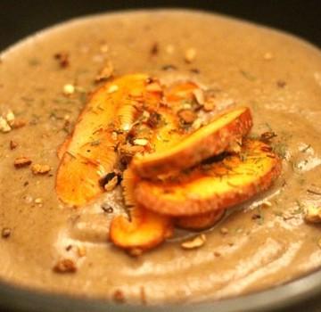 Mushroom Soup with Crispy Sage