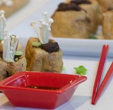 Mushroom Stuffed Tofu Puffs