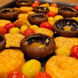 Oven Roasted Sweet Potato and Mushroom Salad
