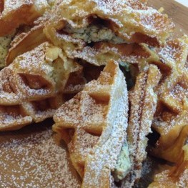 Waffles with Cream Cheese, Chives and Pecans