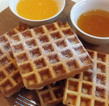 Waffles with Lemon Curd OR Orange Syrup