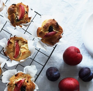 Plum and Vanilla Yoghurt Muffins