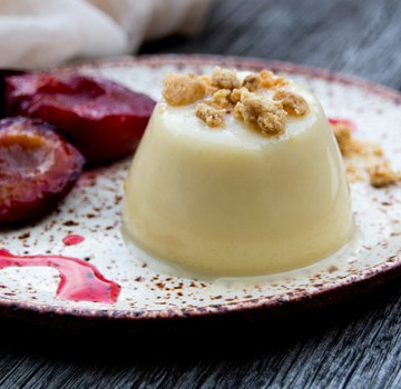 White Chocolate Pannacotta Roasted Plum Panacotta