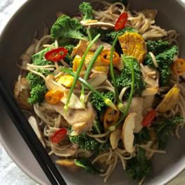 chicken chestnut kale stir fry