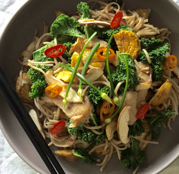 chicken chestnut kale stir fry