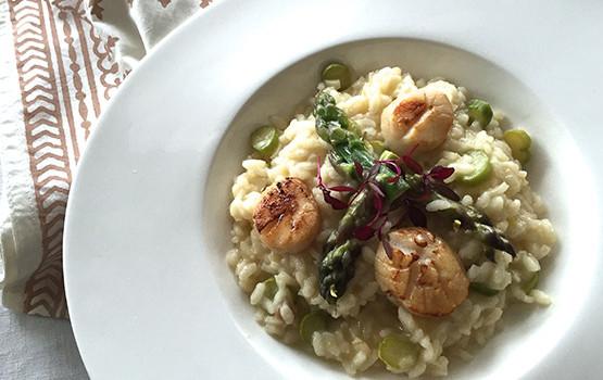 Scallop asparagus risotto