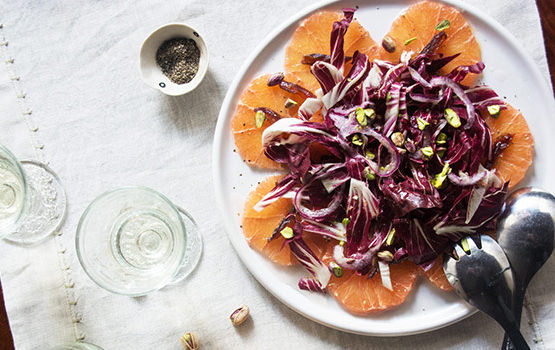 radicchio, pink grapefruit and date salad