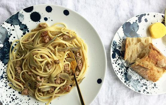 Sauteed artichoke pasta