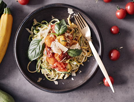Heirloom tomatoes with zucchini noodles