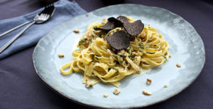 tagliatelle with walnut sauce and black truffle