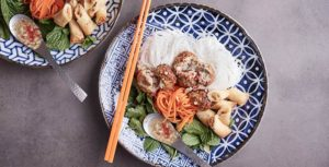 Ginger Pork Meatball Rice Vermicelli Bowls