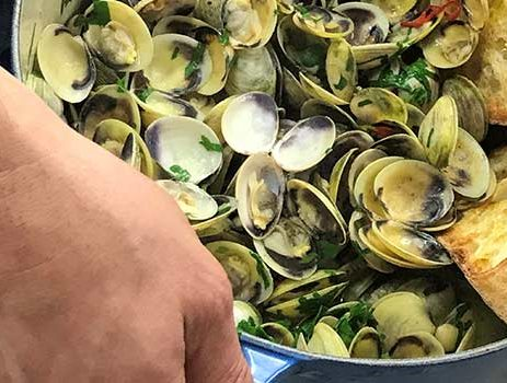 Garlic infused clams
