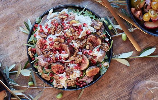 Pomegranate, rocket,prosciutto, fig salad