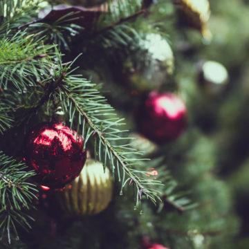 Chirstmas balls on a christmas tree