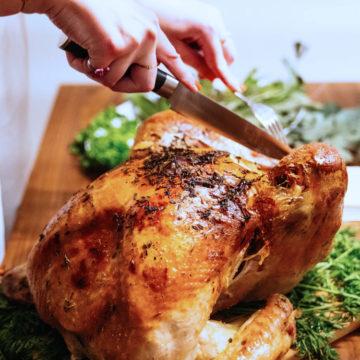 Roast chicken carving