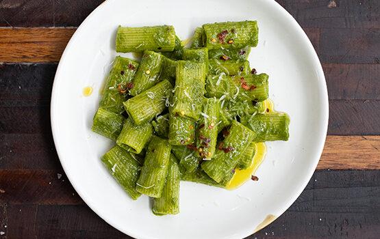 Rigatoni with kale and pecorino
